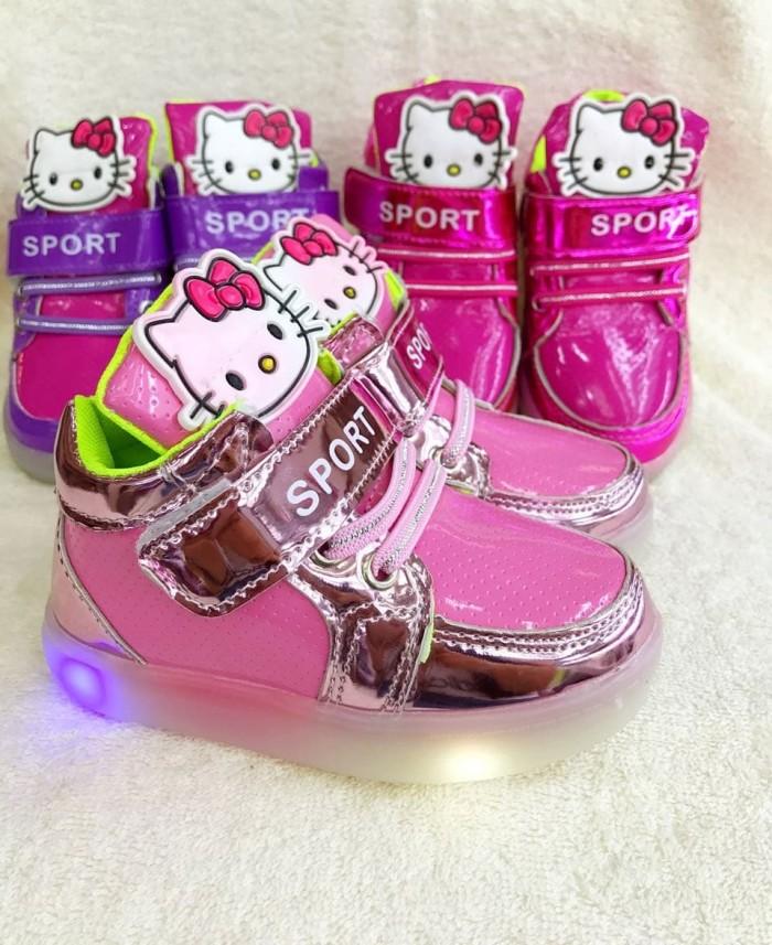 harga Sepatu fashion anak hello kitty sneaker boots led lampu cewek sekola Tokopedia.com