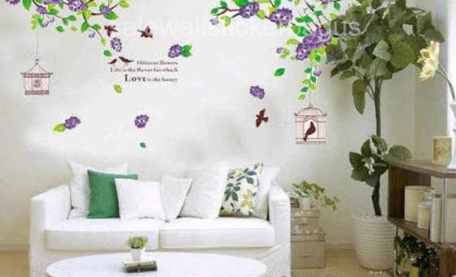 wallsticker 60x90/wallstiker transparan-AY1916B-PURPLE HIBISCUS FLOWER