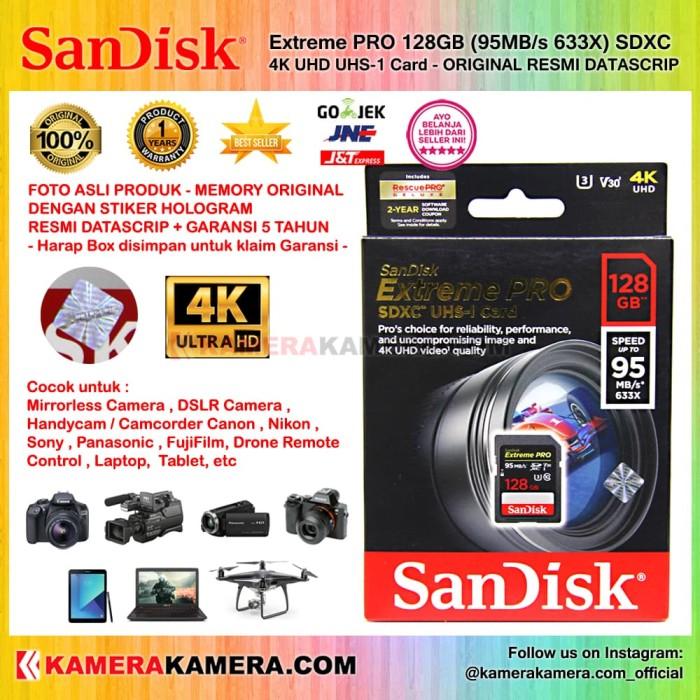 harga Sandisk extreme pro 128gb (95mb/s 633x) sdxc 4k uhd uhs-1 card resmi Tokopedia.com