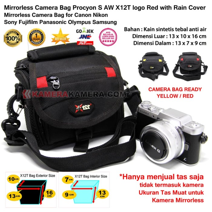 Mirrorless camera bag procyon s aw red + rain cover for mirrorless - merah