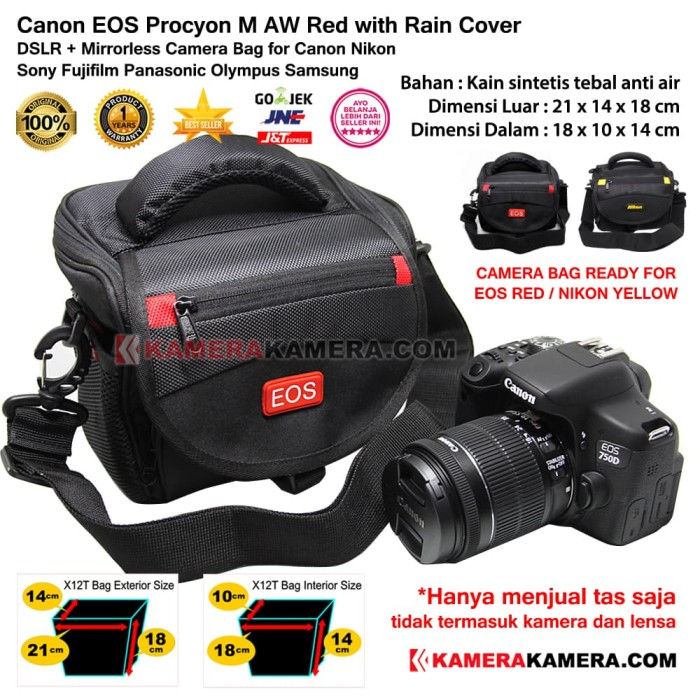 Canon eos camera bag procyon m aw + rain cover for dslr & mirrorless - merah