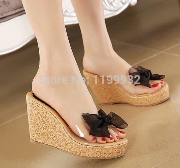 wedges ribbon hitam sendal sandal slop selop pita hak tinggi wanita - Hitam, 37