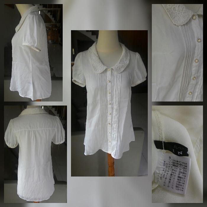 Foto Produk Blouse kemeja wanita putih white Ingni kawai kerah bordir import dari Violetta van Java