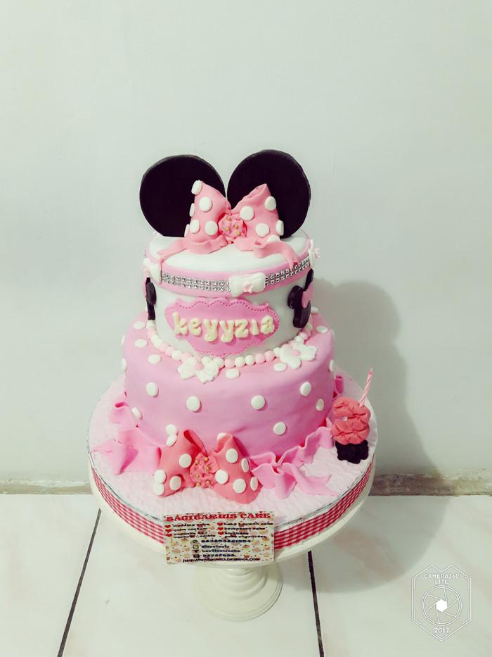 Jual Kue Ulang Tahun Minnie Mouse 2 Tingkat Fondant Cake Jakarta Timur Novlauwcake Tokopedia