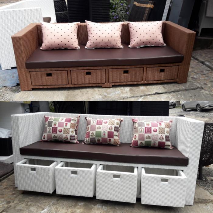 Jual Sofa Storage Laci 3 Rotan Sintetis Kota Bogor Babaming