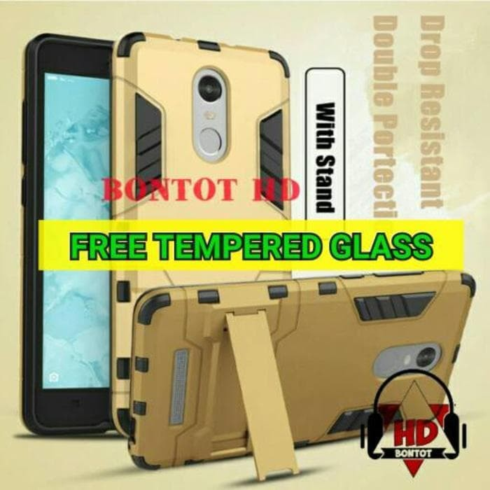 Xiaomi Redmi Note 3 / Pro Casing Iron Man Case Armor + Tempered Glass