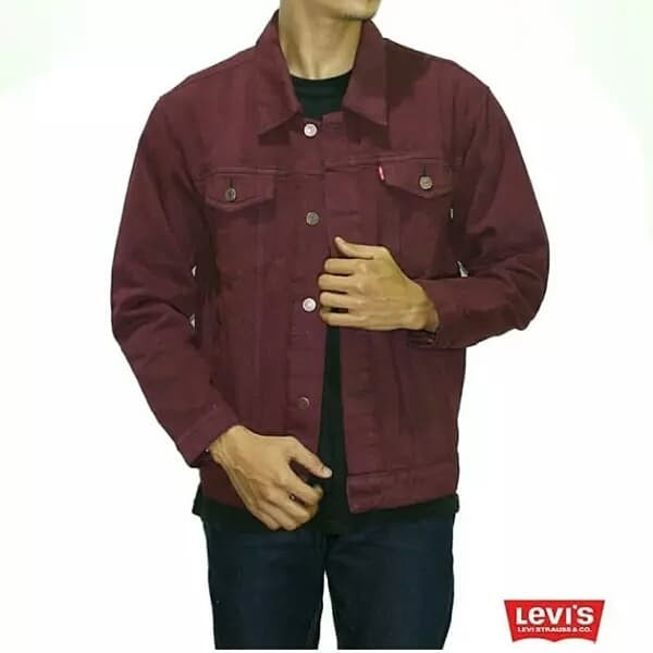 jaket jeans full merah maroon premium import kasual vintage sport sans - Maroon, M