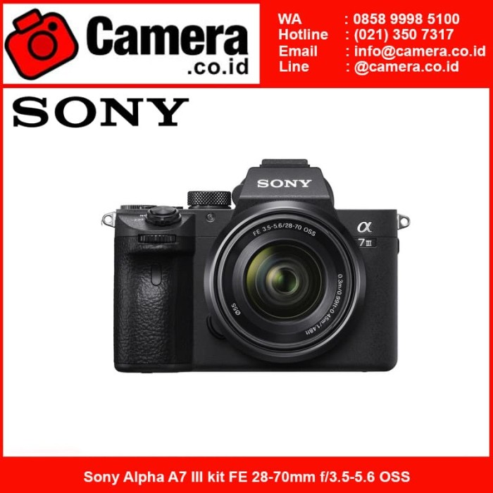 Sony alpha a7 iii kit 28-70mm f3.5-5.6 oss - hitam kamera mirrorless