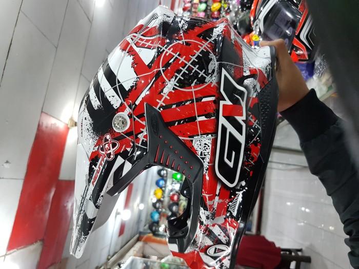 Helm GM Startic Black White Red Supermoto Full Cross Fullface 3