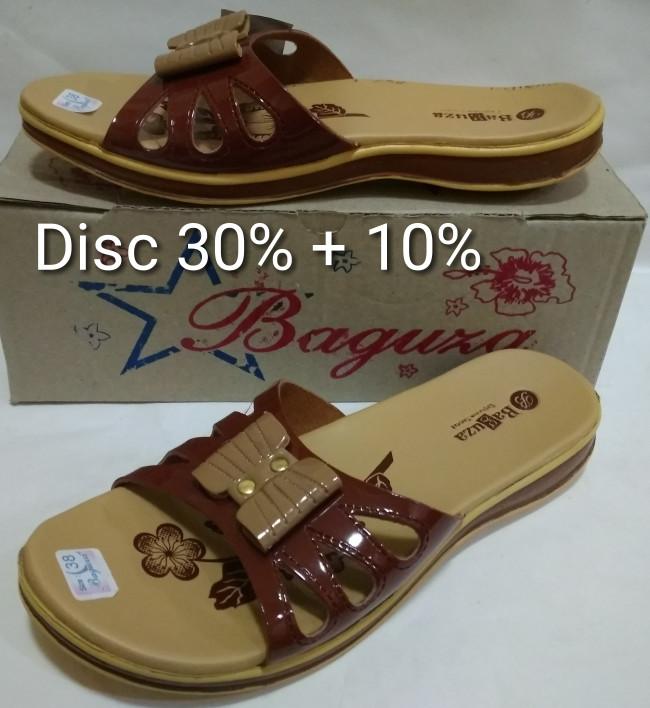 Sandal kulit wanita model sandal fladeo merk baguza coklat moca b387dd3412