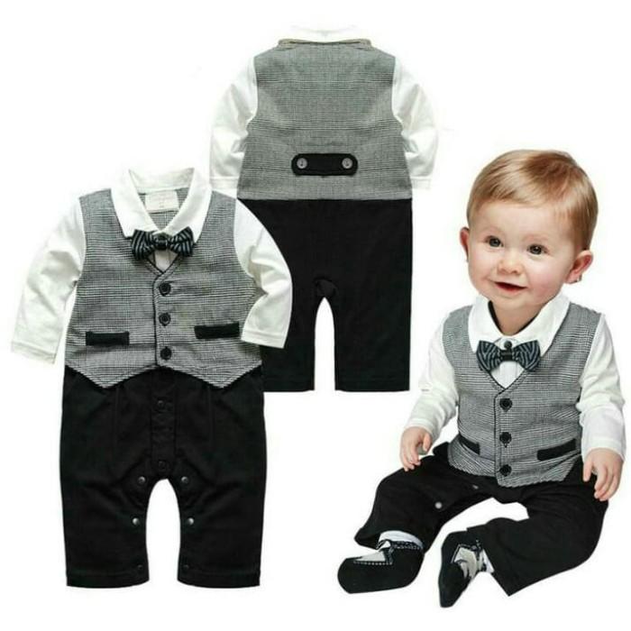 harga Setelan romper jumper tuxedo anak import usia 6-18 bulan keren bagus Tokopedia.com