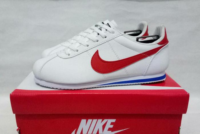 sepatu sneakers casual nike cortez putih merah cewek women wanita - Putih  Merah 21e3460411