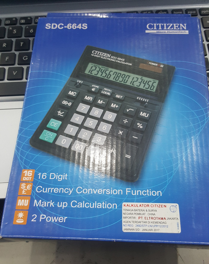 Kalkulator Citizen SDC 664S Desktop Segel Hologram Original 16 Digit
