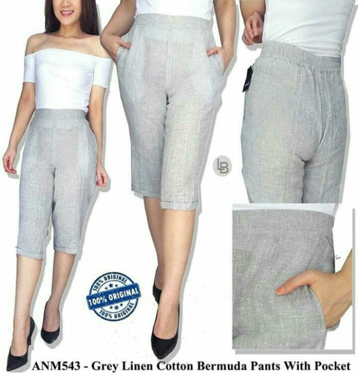 harga Celana branded murah animale grey linen cotton bermuda pants Tokopedia.com