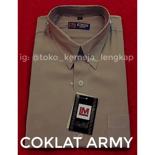harga Kemeja pria coklat army coklat tentara/ coklat tua polos lengan pendek Tokopedia.com
