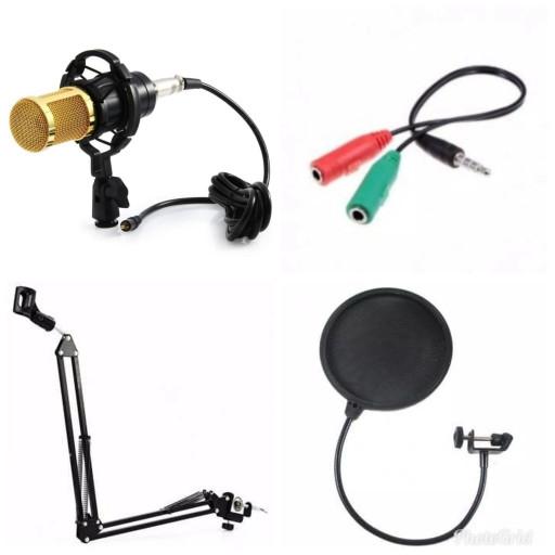 harga Full paket microphone condenser bm800+stand holder+pop filter+splitter Tokopedia.com