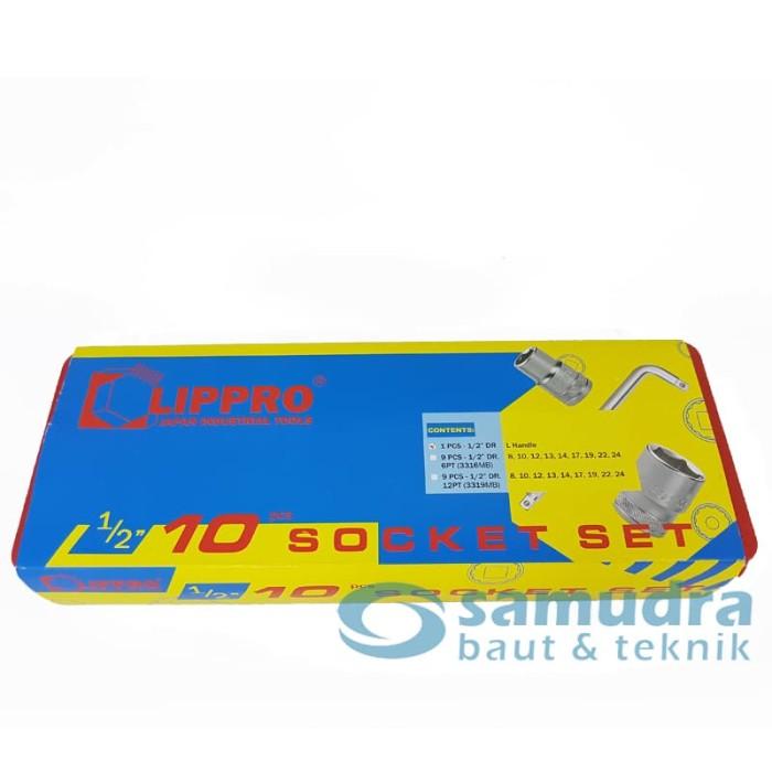 LIPPRO KUNCI SOK SET 10 PCS 8 - 24 MM 6PT BOX PVC 3316 MB