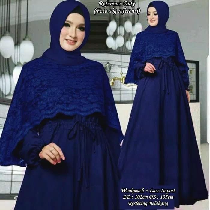 Jual Gamis Cape Maxi Dress Longdress Baju Pesta Muslim Elegan Mewah