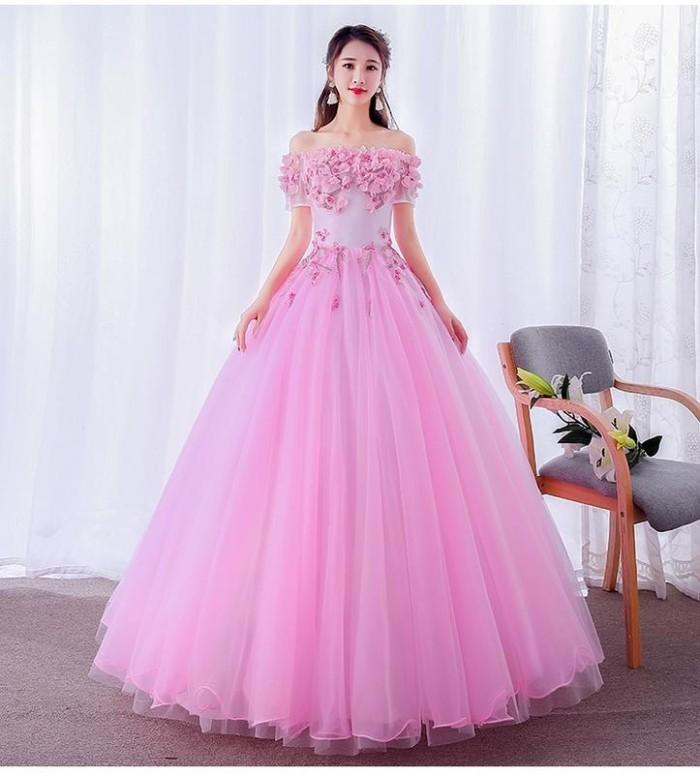 Jual Gaun Pengantin 1805014 Pink Sabrina Lengan Pendek Wedding Gown