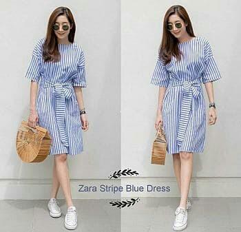 harga [zara stripe blue dress ro] dress wanita stripe salur biru Tokopedia.com