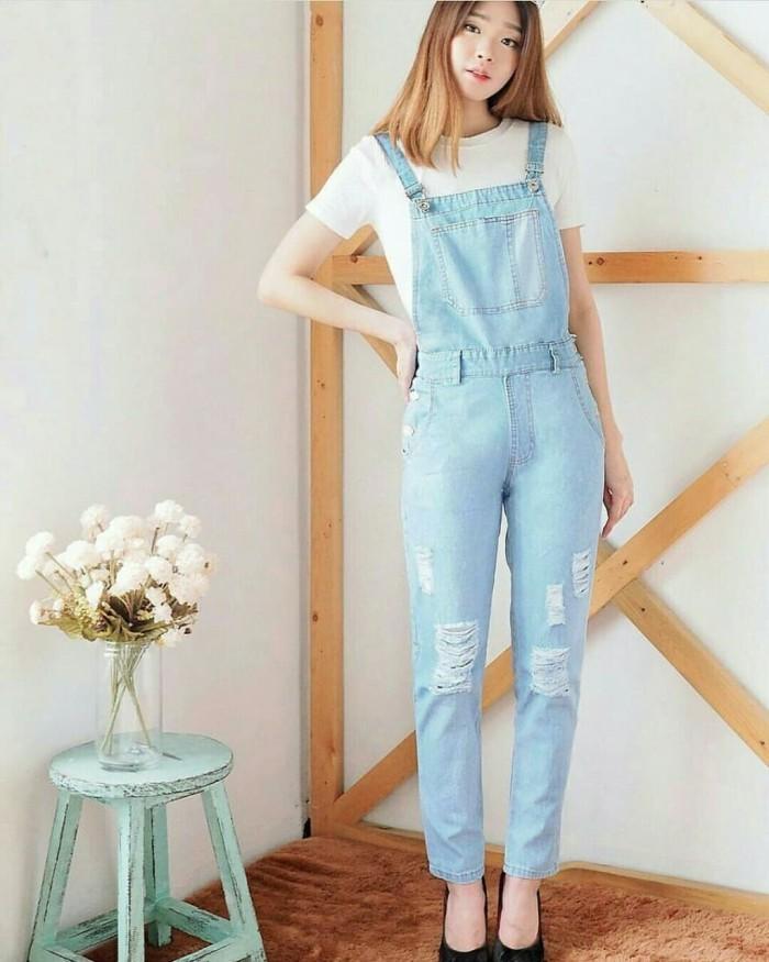 harga [janeta soft ro] jumpsuit wanita jeans biru muda Tokopedia.com