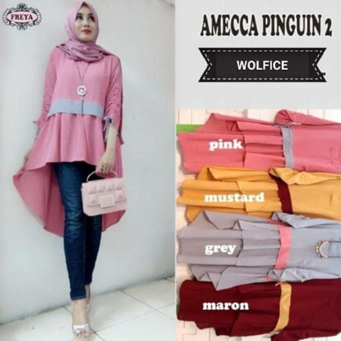 Jual Tunik / Amecca Pinguin 2 / Dress / Midi Dress / Baju Muslimah Hot