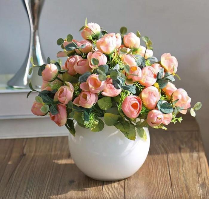 harga Rangkaian spring tea rose hydrangea silk artificial import - peach Tokopedia.com