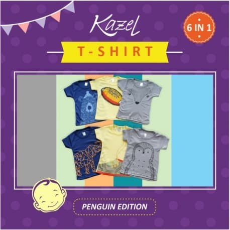 Baju Atasan Anak / Kaos Anak (Kazel Tshirt Unisex Penguin Edition)