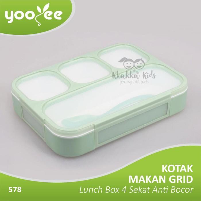 Yooyee - Kotak Makan Grid Bento Lunch Box 4 Sekat Anti Bocor - Green