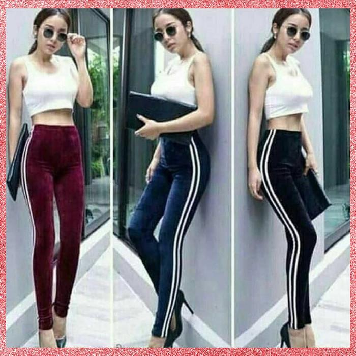 Jual Lengging Celana Legging Wanita Velvet Stripe Import Kota Bandung Syanas Tokopedia