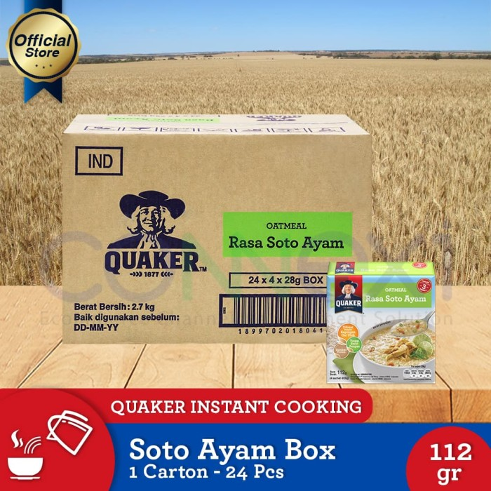 harga Quaker instant oatmeal soto ayam box 4s [1 carton - 24 pcs] Tokopedia.com