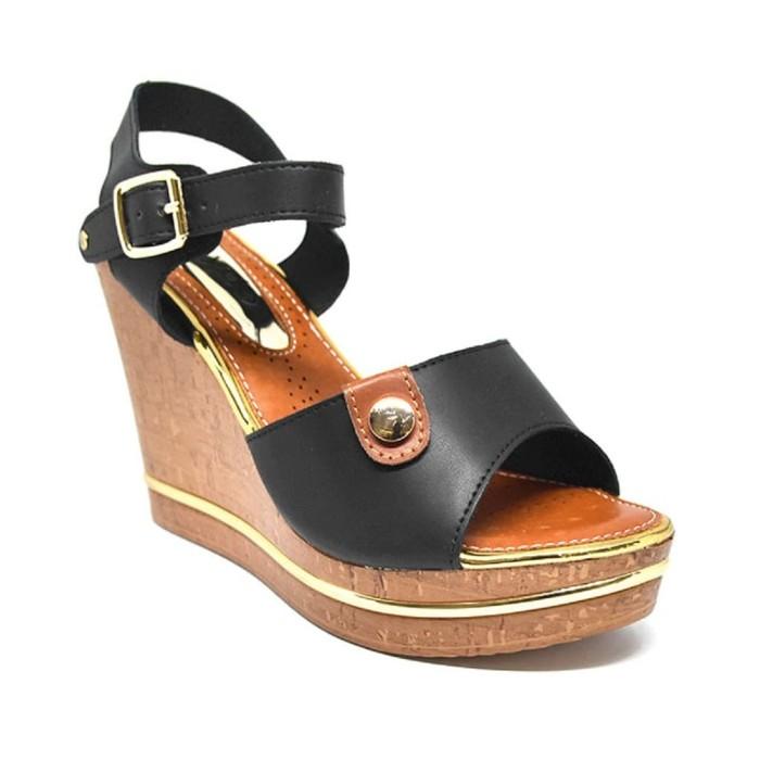 SANDAL Wanita Wedges 10cm BLACK Sendal Perempuan Sandal Carvil