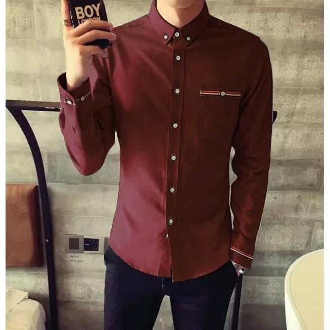 Kemeja Pria Lengan Panjang | Pakaian Atasan Pria Kantor Polos | Baju