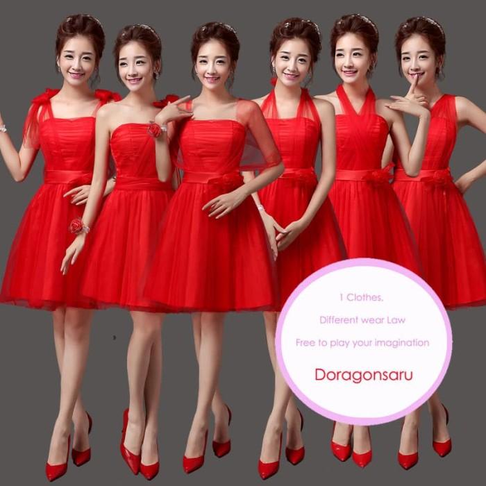 Jual Sd 083d Gaun Pesta Wanita Pendek Freestyle Warna Merah Kota