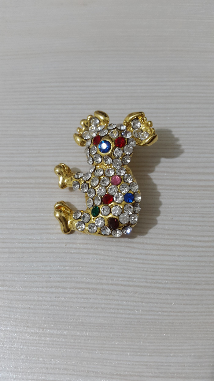 Jual Bross Cantik Koala Batu Asli SWAROVSKI Warna Gold Jakarta Utara Juliusshop