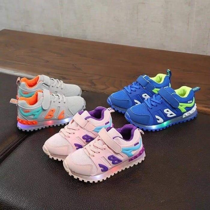 sepatu led anak 21-25 sepatu lampu anak sekolah sport bayi thunder-ABC