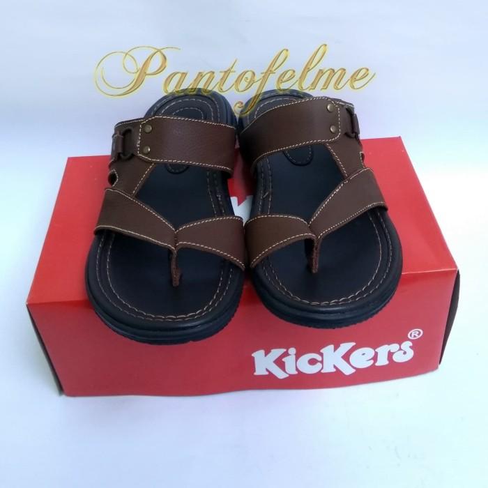 Foto Produk Kulit Asli !! Sandal Kickers Pria / Sendal Kickers Cowo - OVAL - Hitam, 39 dari Pantofelme