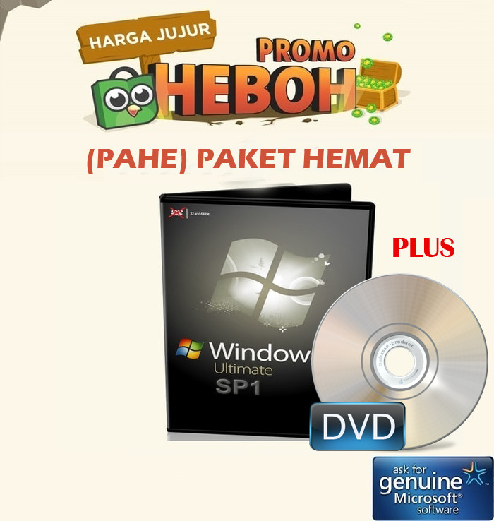 harga (pahe)  windows 7 ultimate dvd 64 32 bit lisensi original online Tokopedia.com