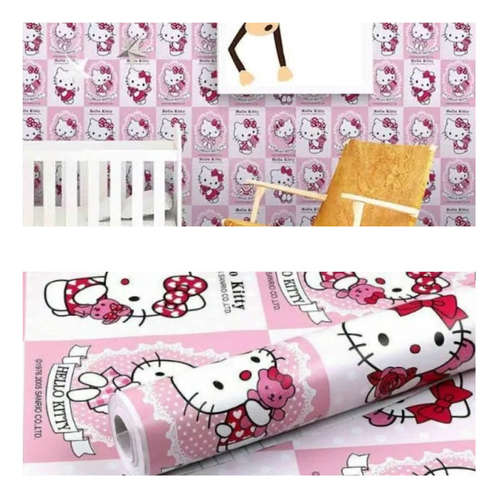 Jual Wallpaper Stiker Dinding Kamar Anak Murah Hello Kitty Kotak