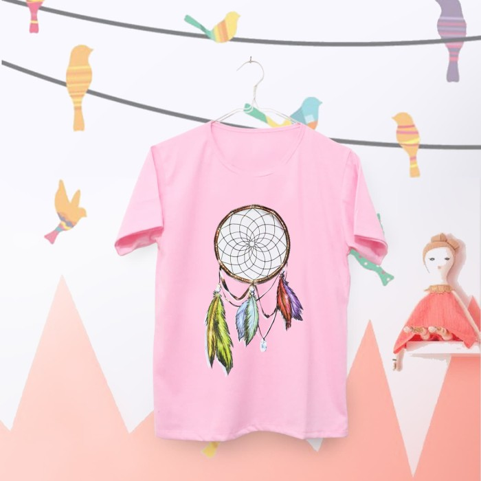 harga Tumblr tee / t-shirt / kaos wanita lengan pendek dreamcatcher pink Tokopedia.com