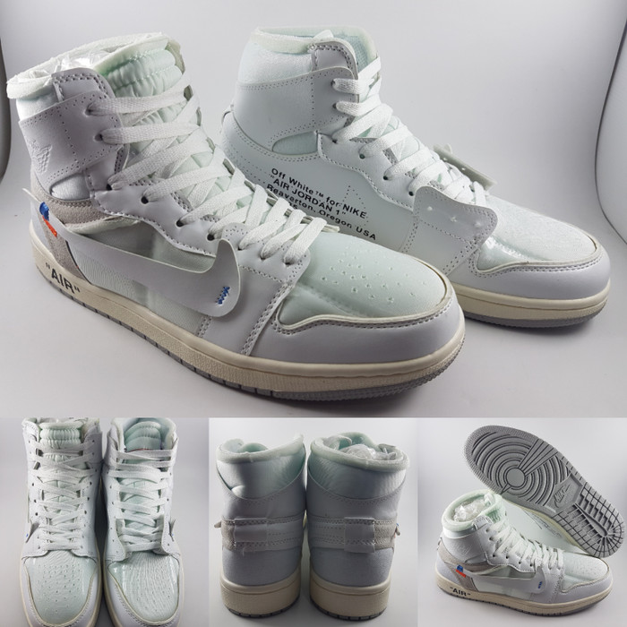 ... harga Sepatu basket kets nike air jordan 1 high off white full white  putih Tokopedia. 412d412250