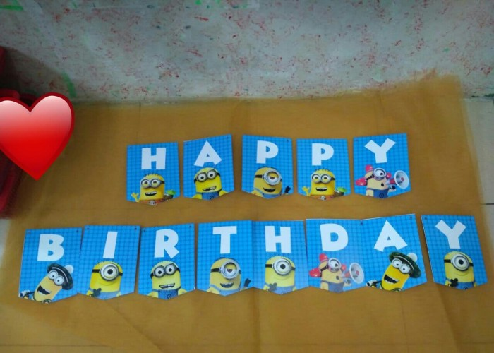 Foto Produk Banner Happy Birthday Minion / Bunting Flag Minion dari Fun Kids Party