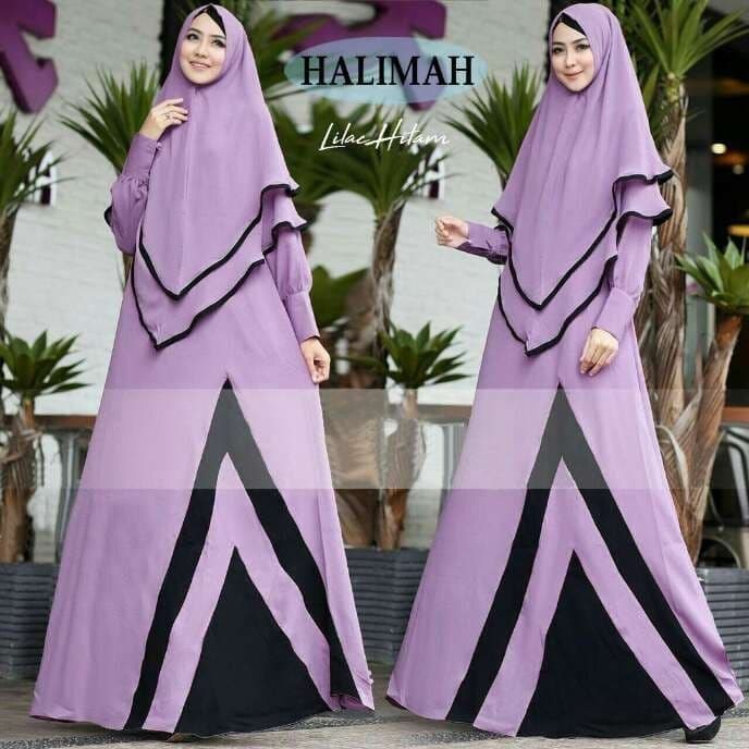 harga Baju busana muslim gamis halimah syar'i lilac hitam bergo antem Tokopedia.com