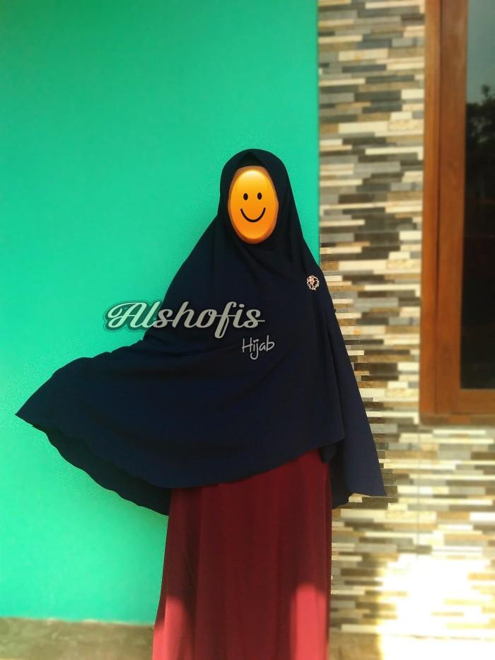 Khimar Super Jumbo Belah Tengah non Pet / Hijab Jumbo XXL by Alshofis - Black