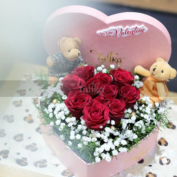 Jual Flower Bloom Box Rangkaian Kotak Bunga Mawar Merah Bentuk
