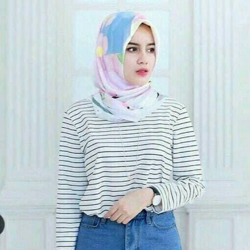 Stripe Tee / Kaos Salur Wanita Lengan Panjang Warna Putih