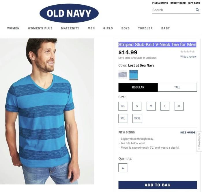 Jual Kaos Striped V Neck Tee For Men Old Navy Size Xl Biru L Kota Bandung Akayamu Store Tokopedia