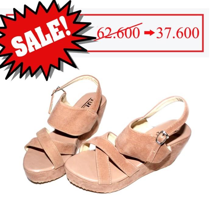 harga Sepatu wanita sandal wedges cewek suede beludru coklat muda - fse086 Tokopedia.com