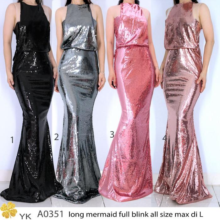 5743c22056 Jual Yksale 0351 long dress sale stock import sequin blink thangtop ...