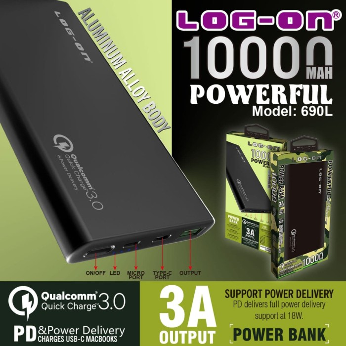 Foto Produk Log On 690L Powerbank 10000 MAH Quick Charge 3.0 Power Delivery PD 18W - Black dari Hippo Power Bank